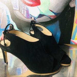 COLE HAAN NWT black suede peep toe heels SZ 8 1/2
